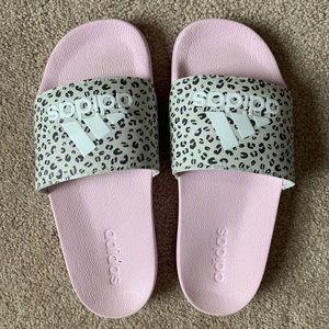 Pink cheetah print adidas slides